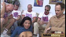 Hot ebony chick in interracial gangbang 6