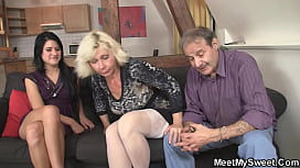 Guy leaves and old couple seduce his gf into sex