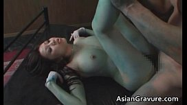 Nasty asian lady gets her hairy cunt