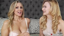 Blonde MILF with big tits enjoying lesbian sex