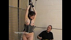 Kinky amateur bondage and whipping of Lena in electro and hardcore dominati