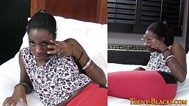 Ebony teen masturbating