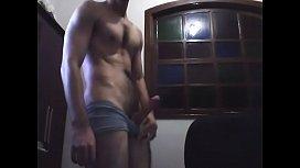 Hairy man masturbating on bedroom