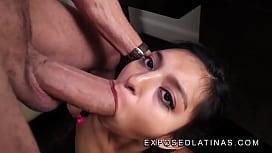www.EXPOSEDLATINAS.com Betty La Ternurita Amateur Latina Pornstar gagging on her stepfather big monstercock