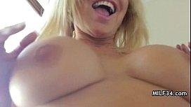 Horny big-tit MILF slut fucks her d.'_s bf'_s