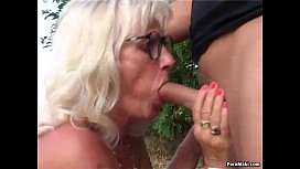 Granny fucked outdoor