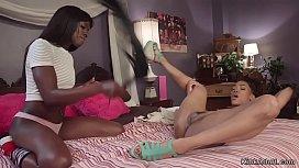 Ebony lesbians anal fucking in bed