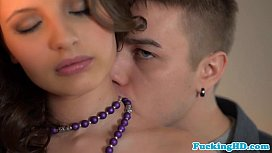 Petite glam euro babe makes love on table