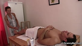 Hairy pussy masseuse old granny and boy