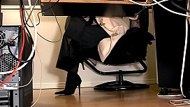Secretaries under desk hidden cam masturbation xxx porno