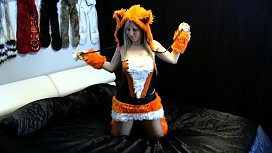 Fox Lady costume with beige pa ose