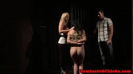 Euro babe dominated over by kinky couple