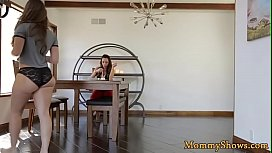Hairy stepdaughter pussylicked by bigtit milf