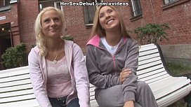 Perfect girls play with each other and seduce hard man