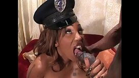 Black stud fucks hot black skank'_s hairy twat then gives her facial