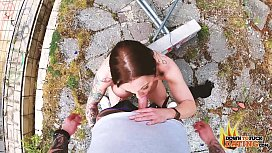 DTFdating - TATTOOED BRUNETTE MILF GETS FUCKED OUTDOORS IN DOGGY POV
