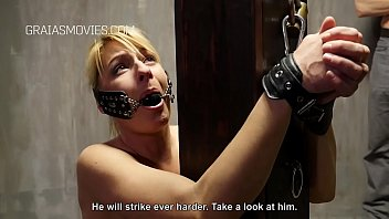 MILF blonde bound, gagged and whipped