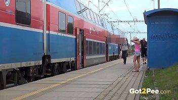 Caught Pissing On Train Platform