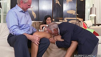 Old guys get sucked off by Latina Teen pornhub video
