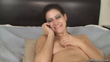 POV Blowjob by step daughter who seduces you into being her cuckold bitch step dad and suck out the creampies from her pussy and locks you in chastity