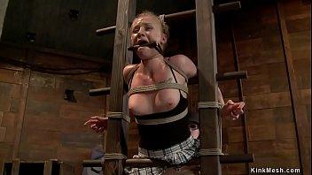 Fascinated blonde gets spanked on hogtie