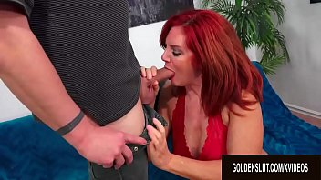 Beautiful Older Redhead Andi James Gorges Herself on Man Meat - 69VClub.Com