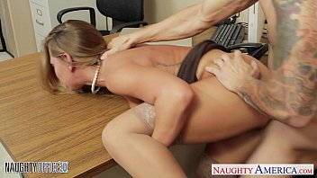 Stockinged office cutie Carter Cruise fucking