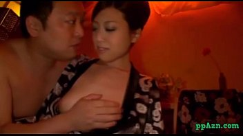 Hairy face guy Asian masseuse sitting to guy face sucking his cock fucked in doggy on the mattr