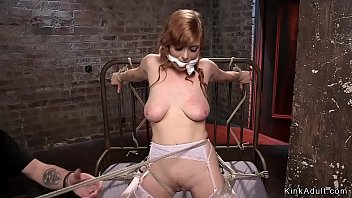 Busty hogtied sub gets anal fisted