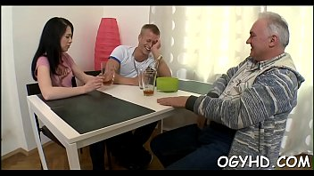 Hot young sweetheart screwed by old guy