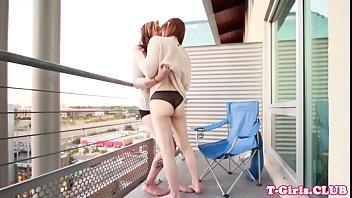 Twosome fatcock tgirls pleasuring each other