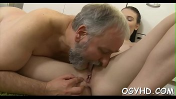 Youthful playgirl licks and rides old rod