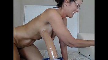Wet live milf rides big dildo for cum on cam