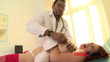 Nurse slut Leila Moon gets her pussy and tits squeezed on examination table GP794