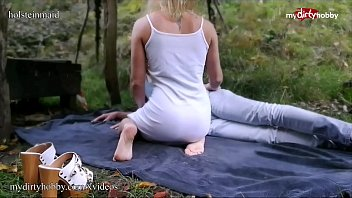 MyDirtyHobby - Young blonde amateur fucks an older man outdoors