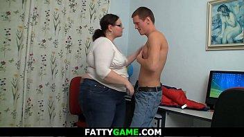 Young stud fucks chubby big belly teacher