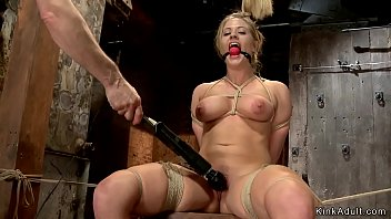 Blonde in chest bondage gets vibrated