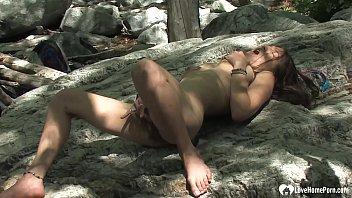 Horny babe with big tits is masturbating passionately