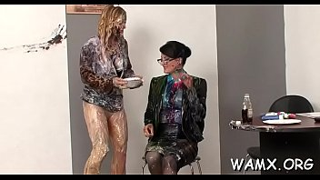 Intensive food porn action with fleshly lesbians women