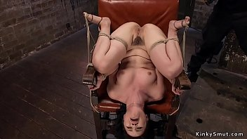 Asian spinner in bondage gagged and toyed