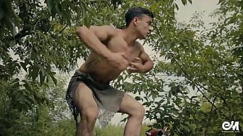 The gay barbarian Sexy tarzan gay parody with barbarian boy in modern world