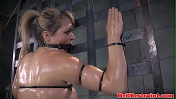 Bound roughsex sub tied up while riding toy