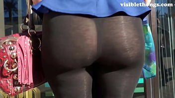 See-through leggings visible thong booty 23