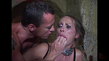 Bikini tie side bright color Mandy bright chained and double penetrated in her cunt.