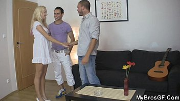 Blonde slut cheats her BF with his brother