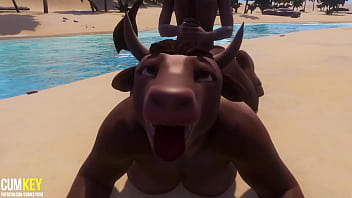 Furry cow girl fucks with a man to reproduce | Furry monster| 3D Porn Wild Life