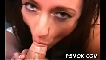 Ebony sucks a tiny cock while holding a lit cigarette