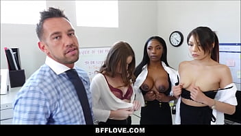 Tits at bank Rad dad fucks all three of his sons future female assistants sarah banks, sami parker and danni rivers pov
