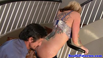 Alternative tattooed milf banged on staircase