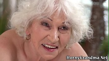 Rimmed gray haired granny gets doggystyled